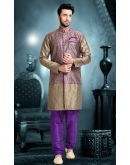 Ready-Made Wedding Wear Brown Indo Western Kurti - 78834