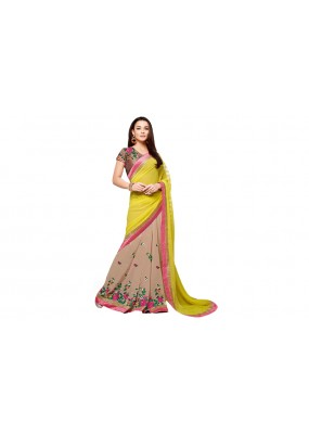 Party Wear Georgette Brown Yellow Saree - RKVR2104
