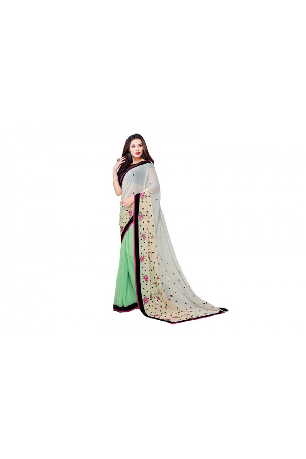 Party Wear Georgette Green & Black Saree - RKVR2102