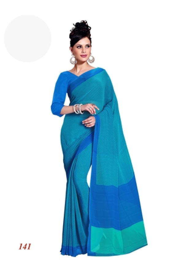 Designer Georgette Green & Blue Saree - RKAM141