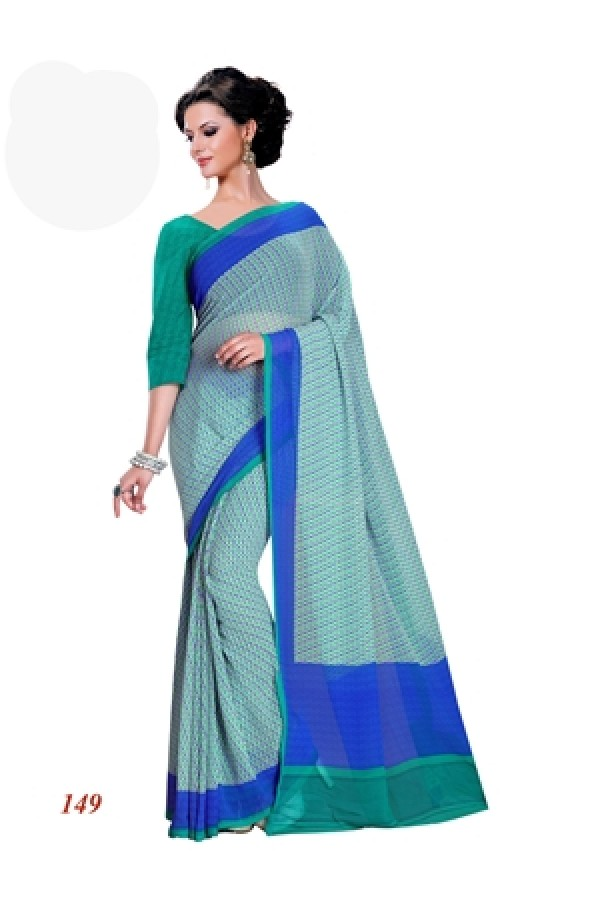Designer Georgette Green & Blue Saree - RKAM149