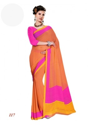 Ethnic Wear Georgette Orange Saree - RKAM117