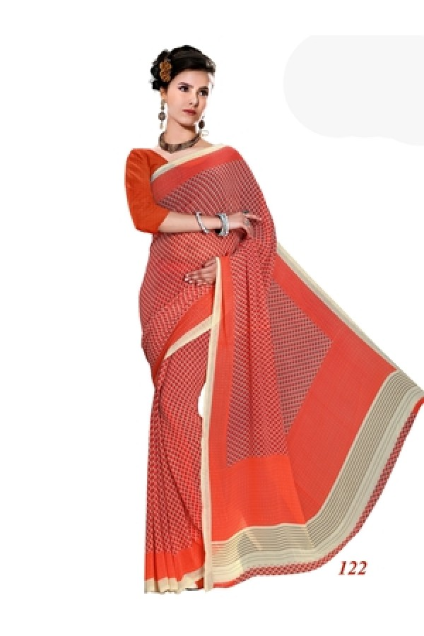 Ethnic Wear Georgette Red Saree - RKAM122