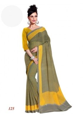 Party Wear Georgette Black & Yellow Saree - RKAM125