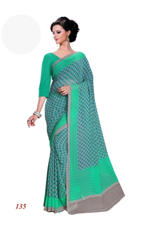 Party Wear Georgette Green Saree - RKAM135