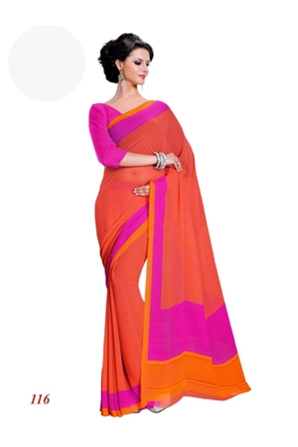 Party Wear Georgette Orange Saree - RKAM116