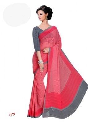 Party Wear Georgette Red Saree - RKAM129