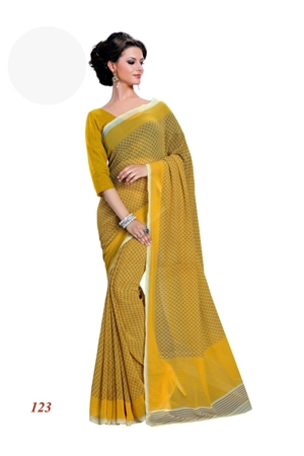 Party Wear Georgette Yellow Saree - RKAM123