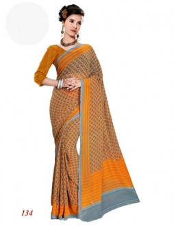 Party Wear Georgette Yellow Saree - RKAM134