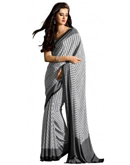 Casual Wear Black & White Crepe Saree - RKAM5103