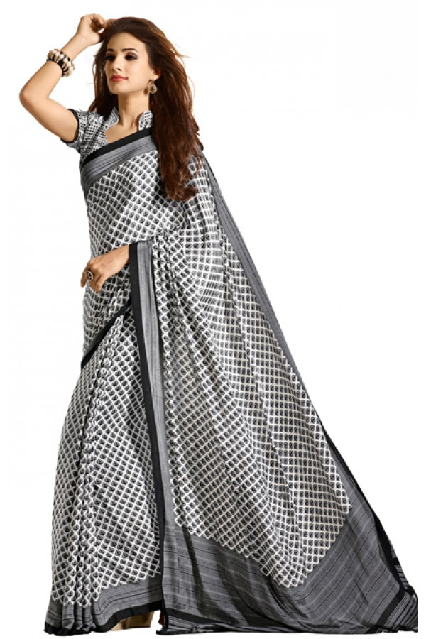 Casual Wear Black & White Crepe Saree - RKAM5104