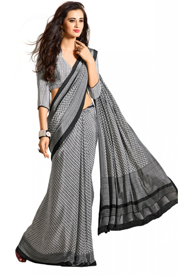 Casual Wear Black & White Crepe Saree - RKAM5105