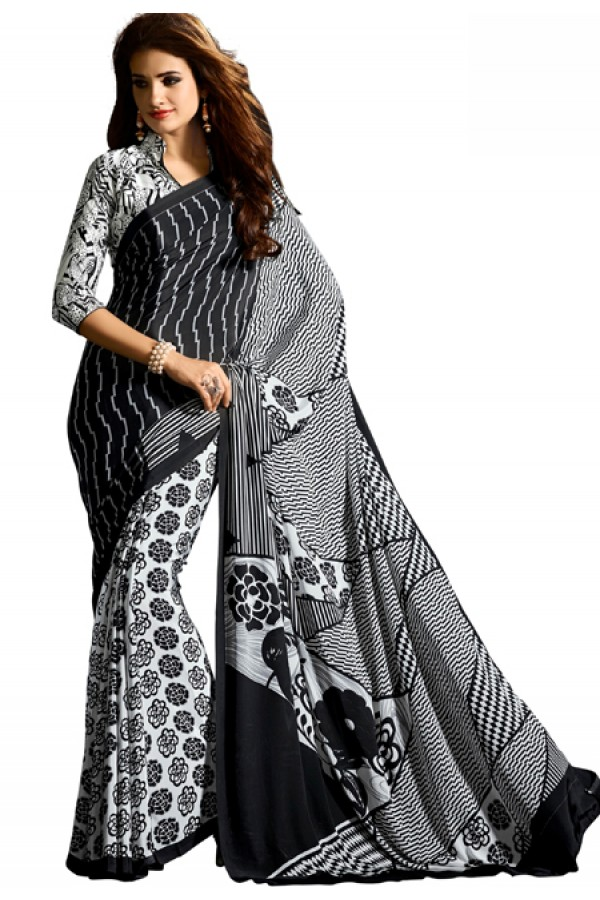 Party Wear Black & White Crepe Saree - RKAM5110