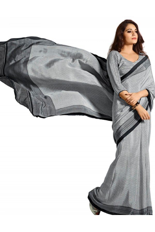 Party Wear Grey & White Crepe Saree - RKAM5117