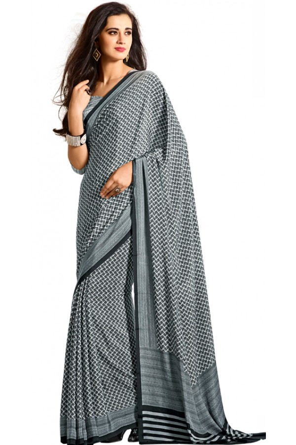 Party Wear Grey & White Crepe Saree - RKAM5119