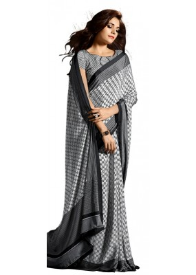 Party Wear Black & White Crepe Saree - RKAM5124