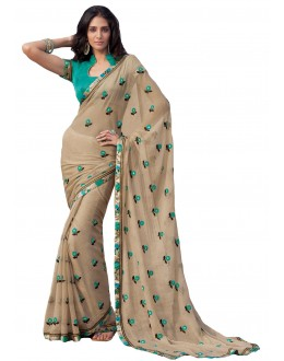 Party Wear Chiffon Beige Saree - RKLP4109