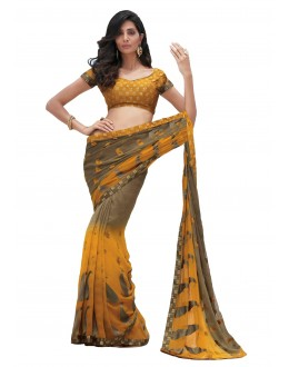 Party Wear Chiffon Yellow & Grey Saree - RKLP4095