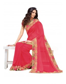 Party Wear Georgette Pink Saree - RKLP4101