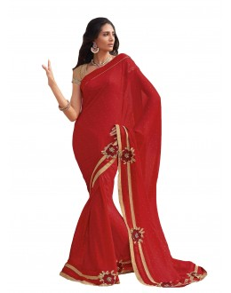 Party Wear Georgette Red Saree - RKLP4106
