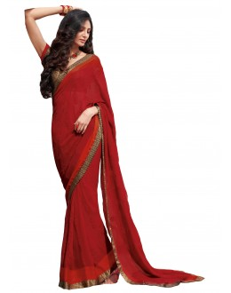 Party Wear Jute Georgette Red Saree - RKLP4111
