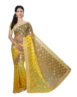 Party Wear Yellow Faux Chiffon Saree  - RKMF1552