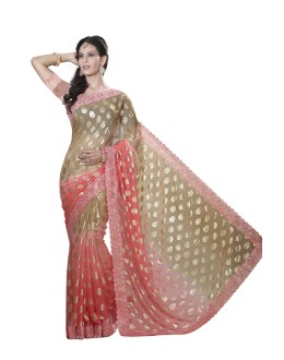 Fastival Wear Old Rose Faux Chiffon Saree  - RKMF1555
