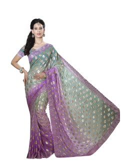 Office Wear Violet Faux Chiffon Saree  - RKMF1556