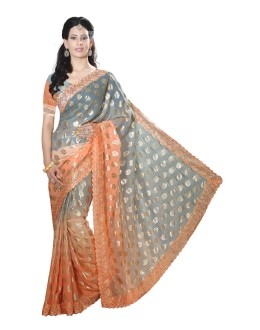 Wedding Wear Orange Faux Chiffon Saree  - RKMF1557