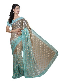 Wedding Wear Pista Green Faux Chiffon Saree  - RKMF1559