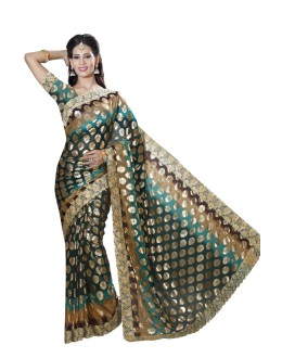 Ethnic Wear Dark Green Faux Chiffon Saree  - RKMF1561