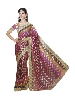 Office Wear Rani Chiffon Saree  - RKMF1564