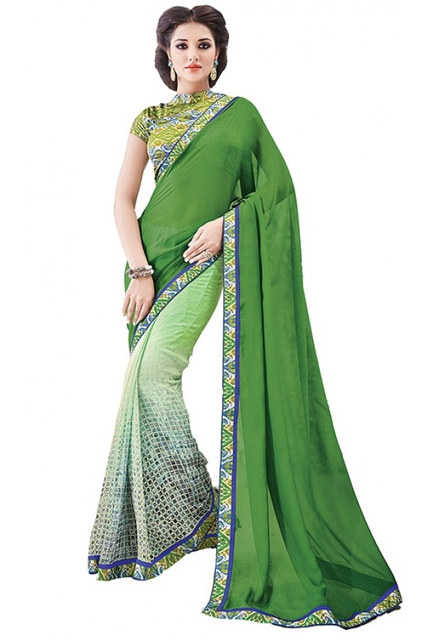 Party Wear Green Georgette Saree - RKSAPAV1310