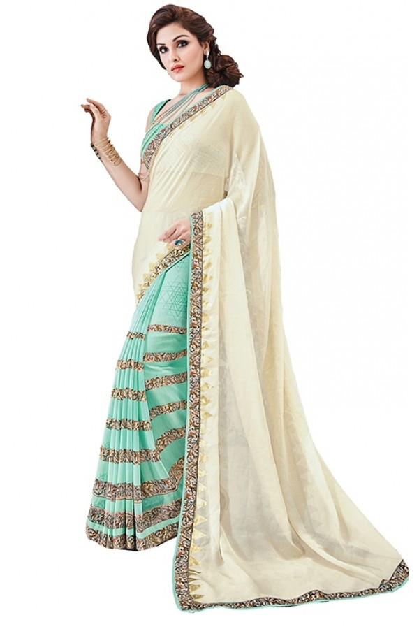 Party Wear Green & Beige Georgette Saree - RKSAPAV1311