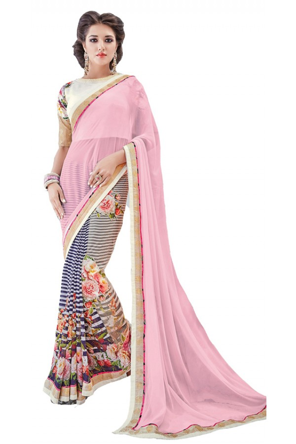 Party Wear Multicolour Georgette Saree - RKSAPAV1315
