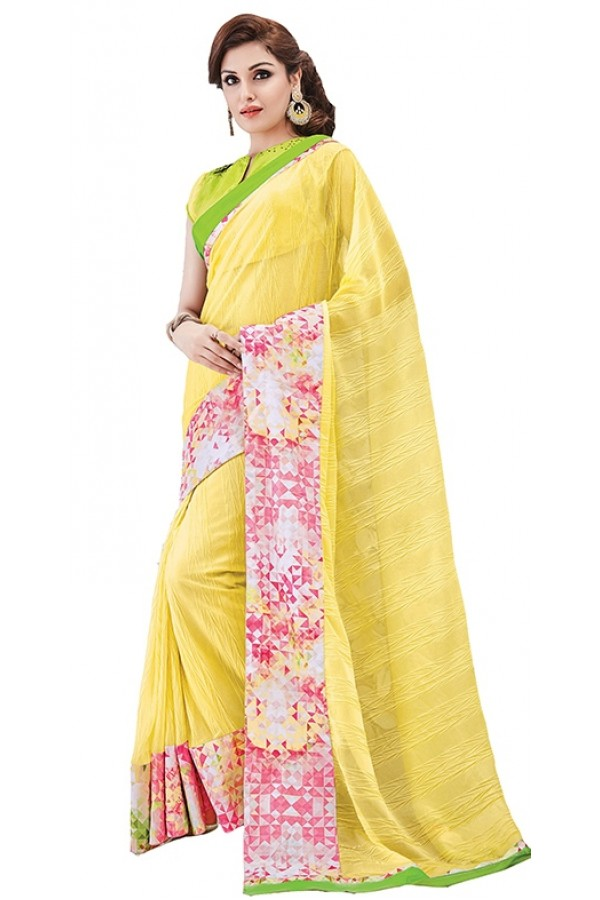 Party Wear Yellow & Green Georgette Saree - RKSAPAV1316