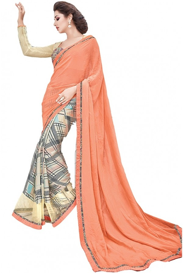 Party Wear Multicolour Georgette Saree - RKSAPAV1319
