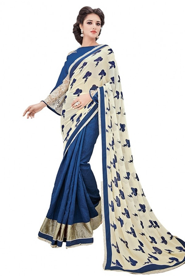 Party Wear Beige & Blue Georgette Saree - RKSAPAV1320