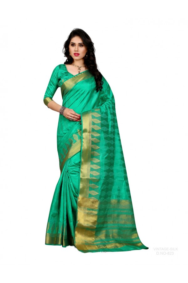 Party Wear Poly Silk Green Saree - RKSGVS823
