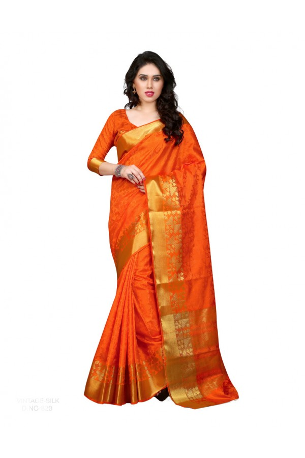 Party Wear Poly Silk Orange Saree - cc
