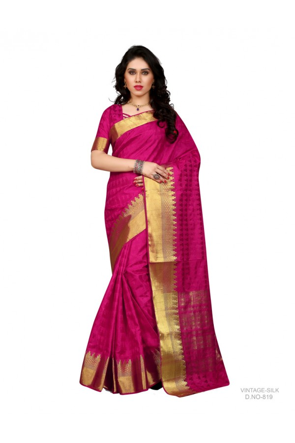 Party Wear Poly Silk Pink Saree - RKSGVS819