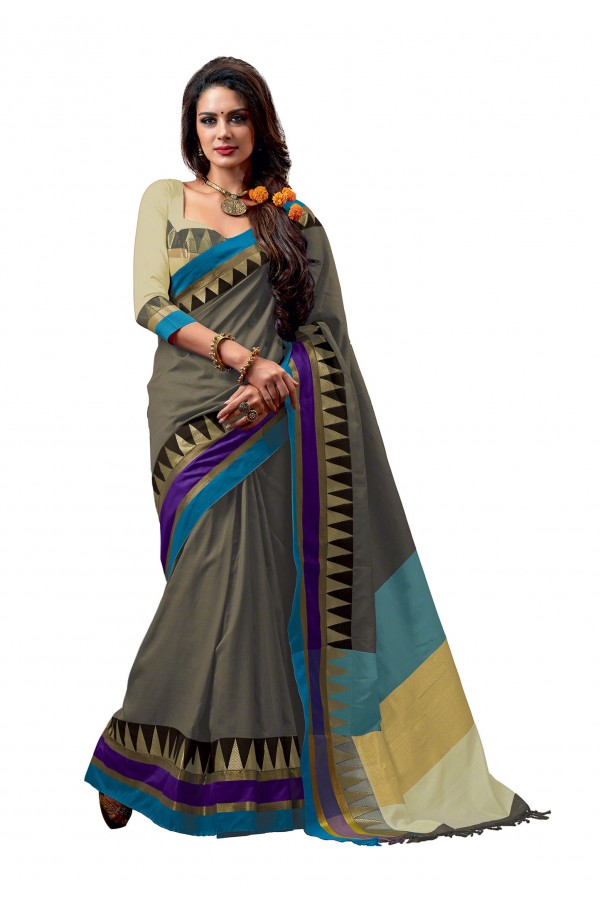 Party Wear Cotton Blend Grey Saree - RKSPNETRASAPPHIRE