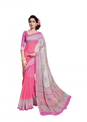Ethnic Wear Linen Cotton Silk Pink Saree - RKVI16114