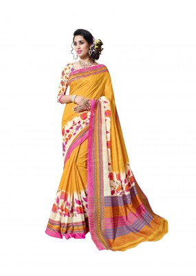 Party Wear Linen Cotton Silk Yellow Saree - RKVI16108