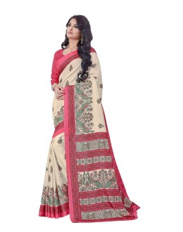 Casual Wear Peach Manipuri Silk Saree  -RKAP8603-B