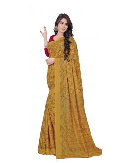Casual Wear Yellow Manipuri Silk Saree  -RKAP8603-A