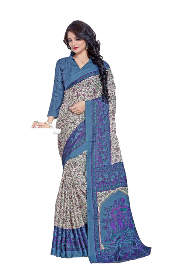 Casual Wear Blue Manipuri Silk Saree  -RKAP8604-A