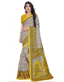 Casual Wear Yellow Manipuri Silk Saree  -RKAP8604-B