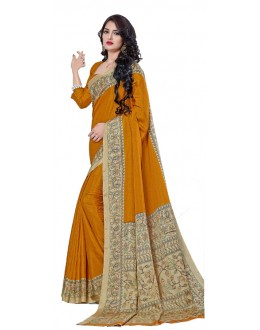 Casual Wear Yellow Manipuri Silk Saree  -RKAP8605-A