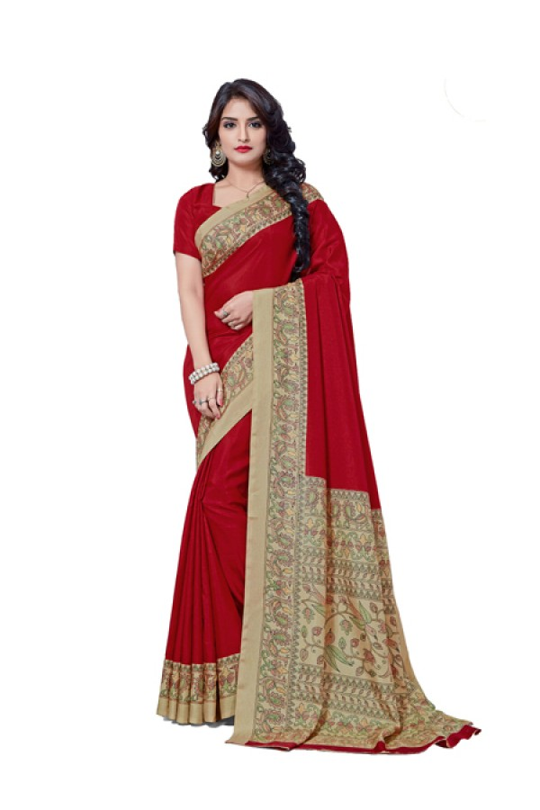 Party Wear Red Manipuri Silk Saree  -RKAP8605-B